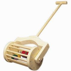 Lawnmower Push Toy Woodworking Plan Our lawnmower push toy is sure to be a hit with the kids! Old fashioned styling coupled with a sturdy wood design is sure to make this little mower a favorite toy f #WoodworkPlans