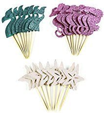 24 Pieces Mermaid Theme Glitter Cupcake Topper Cake Picks Decoration for Baby Shower Birthday Party Favors, Mermaid Tail, Seahorse and Starfish Food Picks: Package includes:br 8 pcs mermaid tail topperbr 8 pcs starfish topperbr 8 pcs seahorse topper Baby Shower Party Favors, Baby Shower Centerpieces, Birthday Party Favors, Baby Shower Themes, Shower Ideas, Birthday Cupcakes, Shower Cake, Mermaid Baby Shower Decorations, Birthday Parties