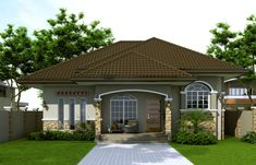 Small house design 2014007 belongs to single story house plans here at Pinoy ePlans. This house plan is a 125 sq. floor plan with 3 bedrooms and 3 bathrooms. The 3 bathrooms are located one at t… Small Bungalow, Modern Bungalow House, Bungalow House Plans, House Floor Design, Small House Design, Modern House Design, My House Plans, Modern House Plans, Small House Images