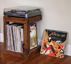 Handcrafted Record Player Stand Made from Reclaimed Fishtail Oak