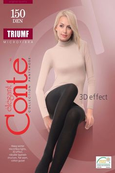 Warm COTTON TOP Women/'s Quality Low Waisted Tights CONTE 250 Den 3D Effect S M L