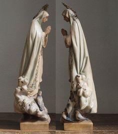 ファティマの聖母マリア像 白鳩宗教芸術カトリック アンティーク/662