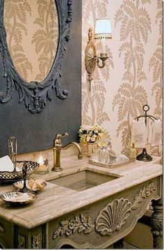 Pretty French Country powder room - Charles Faudree by debra