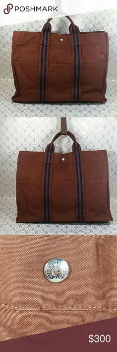 Authentic Hermes Fourre Tour Brown Canvas Bag. Canvas showed signs of used as the bag was preowned. The bag was made in France with its dimension 16, 12 and 3.5. Handles and inside linen are good. The bag is MM size. The Hermes signarure are on the hardware and inside tag. Overall the bag is in a good condition. Hermes Bags Satchels