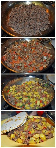 Picadillo Recipe/ Funny I have made this before not even knowing that it was an actual dish!Mexican Picadillo Recipe/ Funny I have made this before not even knowing that it was an actual dish! Plats Latinos, Mexican Cooking, Vegetarian Mexican, Comida Latina, Snacks Für Party, Beef Dishes, Love Food, Cooking Recipes, Easy Recipes
