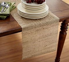 Melaya Woven Nubby Rectangular Table Runner, Ramie, Natural Color: This Melaya Table Runner is woven by hand from purely natural fibers. Nubby design adds interest to this runner. Pottery Barn, Dining Room Inspiration, Kitchen Linens, Hot Pads, Table Linens, So Little Time, Table Runners, Dinnerware, Furniture