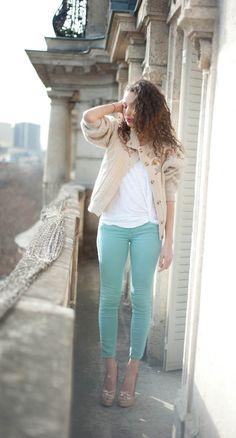 pantalon vert deau