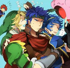 Link, Ike, Marth, Roy, Toon Link (EL) and Kirby