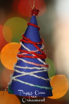 paper cone tree ornaments - happy hooligans (cardstock and yarn)