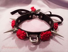 Handmade Punk Gothic Rose Flower Choker Double Spike Collar Lace Up Necklace Pastel Goth Outfits, Emo Outfits, Cosplay Outfits, Cute Outfits, Mode Emo, Goth Accessories, Kawaii Goth, Flower Choker, Mein Style