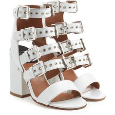 Laurence Dacade Leather Sandals ($521) ❤ liked on Polyvore featuring shoes, sandals, heels, white, strappy sandals, strappy heeled sandals, white leather sandals, strap heel sandals and block heel sandals