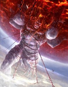 this is one of the other titans, this is Atlas. he was ordered by Zeus to hold up the eastern sky for all eternity for his part in the war against the gods. this concept is from god of war 2.(Wen,C. 2010)