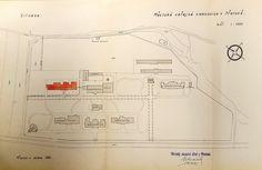 Prerov Municipal Hospital Plan in 1931 showing in orange the proposed eye pavilion building. Hospital Plans, Hospitals, Pavilion, Floor Plans, Diagram, Eye, How To Plan, Orange, Building