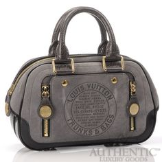 Louis Vuitton Havane Trunks and Bags Bowler PM Bag Gray Suede Black Leather LV | eBay  $1,550