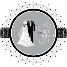 Black and White Wedding Tableware will bring elegance to your wedding celebration. Find plates, napkins and cups that will be wonderful for this wedding theme. The design features sophisticated wedding attire with the words Happily Ever After and polka dot and swirl accents.