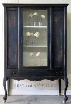 Distressed Lamp Black Hutch | General Finishes Design Center