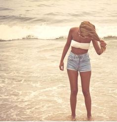 high waisted shorts and bandeau (would be cute with an oversized cardigan)