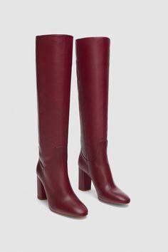 This Shoe Style Is More Popular Than Last Year - Boot Heels - Ideas of Boot Heels - Zara High Heeled Leather Boots Red Leather Boots, Leather High Heel Boots, Red Boots, Thigh High Boots, Heeled Boots, Bootie Boots, Shoe Boots, Red High Heels, Womens High Heels