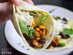 Roasted Corn and Zucchini Tacos - BudgetBytes.com #MeatlessMonday #vegetarian