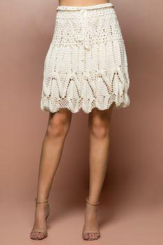 Saia Crochet Sienna Off White - Vanessa Montoro - vanessamontoro