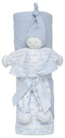 """Gavesett - Økologiske Jerseyteppe + Buddy koseleke. Hooded Blanket Gift Set - Hello Goodbye, ice blue. Svak blå. Behagelig babyteppe i delikate farger. Bomullsjersey i dobbel tykkelse med hette. Bløt og godkoseleke, """"Buddy"""", laget i morsom fasong som er enkel å holde. Med knyttede armer og ben til å tygge på ved tannfrembrudd. Designet for å bli kost med, tygd på og elsket!"""