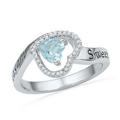 5.5mm Heart-Shaped Aquamarine and Diamond Accent Heart Promise Ring in Sterling Silver (2 Lines) - Personalized Rings - Shared - Zales $229