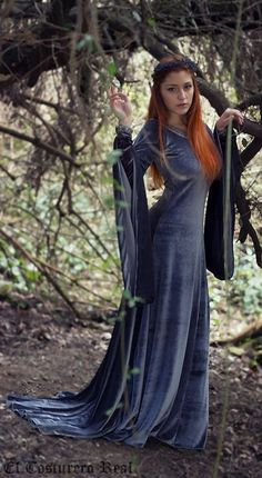 grey velvet *Elven Queen* medieval gown