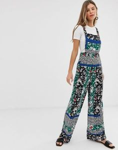 7364861bab8 Miss Selfridge pinny jumpsuit in mixed print