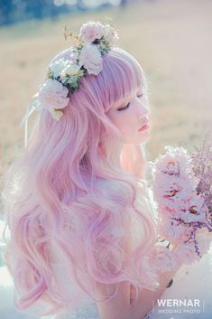 Such a beautiful hair color! Kawaii Hairstyles, Pretty Hairstyles, Anime Hairstyles, Long Curly Hair, Curly Hair Styles, Kawaii Wigs, Pinterest Hair, Aesthetic Hair, Cool Hair Color