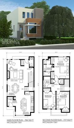 floor plan: 3 bdrm, add side door for bsmnt suite access to stairs, like the front kitchen, add pantry cpbrd by window, rear or front enclosed porch/mudroom Narrow House Plans, Dream House Plans, Modern House Plans, Modern House Design, House Floor Plans, Plan Duplex, House In Nature, Duplex House, Sims House