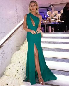 Sexy One Shoulder Ball Gowns Mermaid Green Party Dress Cross Back Red Satin Long Prom Dresses,Evening Party Dresses Sexy Dresses, Cute Dresses, Formal Dresses, Party Dresses, Evening Outfits, Evening Dresses, Mermaid Prom Dresses, Bridesmaid Dresses, Green Party Dress