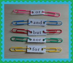 Great idea for conjunctions! Love the paper clip joining two sentences. 5 Conjunctions with clips - compound sentences! You can use this with my game/task cards for sentences! Pictures support learning at Looks-Like-Language! Grammar Activities, Teaching Grammar, Teaching Language Arts, Classroom Language, Language Activities, Teaching Writing, Writing Activities, Speech And Language, Teaching Tools