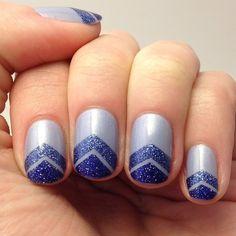 #NOTD: blue sparkly chevrons with #julepmaven Joanna, Tracy, & Jasmine