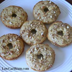 These banana donuts are a perfect grab and go breakfast to enjoy on a busy morning. They can also be made as low carb banana muffins.