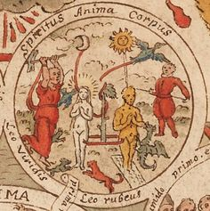 George Ripley (alquimista). Creación del omúnculo, que recuerda a la creación cabalística del GOLEM. Cryptogram 1 of 7, an Alchemist holds an almebic, within it are images of a frog, seven feathers, and nine smaller images of different groups of individuals surrounding almebics. Image taken from Rotulum hieroglyphicum G. Riplaei Equitis Aurati, an alchemical manuscript of the 16th century showing the processes for the production of the philosopher's stone in pictorial cryptograms