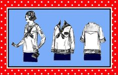 Vintage 1919-EDWARDIAN SAILOR BLOUSE-Sewing Pattern-Four Styles-Patch Pocket, Tie-Up Sides, Contrast Collar-Size Small-Rare-Collectible by FarfallaDesignStudio on Etsy
