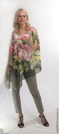 Палантин Краски лета, батик, ручная роспись, натуральный шелк - холодный батик