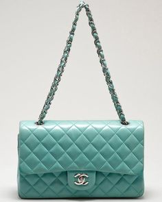 Chanel Classic Flap bag in Turquoise.. It reminds me of the ocean. Love this colour!
