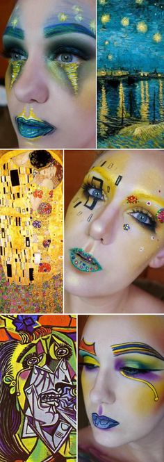 Ever heard the phrase makeup is an art form? US‐based makeup artist, Lexie Lazear, has taken things a step further, transforming herself into famous works of art whilst documenting the whole thing on social media. Lexie has been using makeup to recreate paintings by the likes of Van Gogh, Picasso and Gustav Klimt on her face using just her beauty bag. The finished result is fascinating.