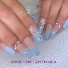 The Most Popular Nail Designs for Coffin Nails - Coffin Nails - . - the most popular nail design for coffin nails – coffin nails – - Blue Acrylic Nails, Summer Acrylic Nails, Marble Nails, Blue Ombre Nails, Baby Blue Nails, Light Blue Nails, Metallic Nails, Glitter Nails, Acrylic Nail Designs Coffin