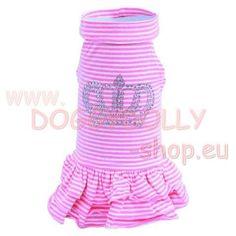 Royal Hundekleid Pink Crown Doggy-Dolly - DoggyDolly Hundekleid Pink Crown. Das königliche T-Shirtkleid aus rosa-weiß gestreifter Baumwolle von DoggyDolly mit einem weiten angedeuteten Rollkragen die funkelnde Krone aus hochwertigen Strass... Pink Crown, Fashion Styles, Cotton, Curve Dresses