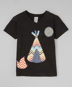 Another great find on #zulily! Black Campsite V-neck Tee - Infant, Toddler & Boys by mini scraps #zulilyfinds