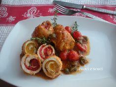 Girelle di pollo e peperoni