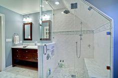 Traditional Bathroom Attic Bathroom Design, Pictures, Remodel, Decor and Ideas - page 9 Attic Bathroom, Bathroom Renos, Bathroom Layout, Bathroom Colors, Bathroom Interior, Small Bathroom, Master Bathroom, Attic Shower, Big Shower