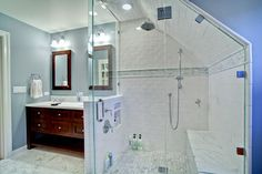 Add half wall to shower