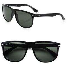 Ray-Ban Flat-Top Boyfriend Wayfarer Sunglasses (277 CAD) ❤ liked on Polyvore featuring men's fashion, men's accessories, men's eyewear, men's sunglasses, apparel & accessories and black