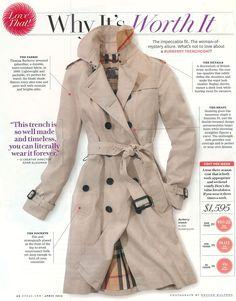 Burberry Trench - why it's worth it! Agreed!! Waard wel, maar toch niet te doen voor de meeste vrouwen.