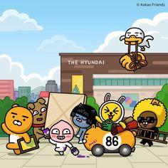Friends Gif, Line Friends, Kakao Friends, Cartoon Painting, Kawaii Drawings, Cute Characters, Cute Illustration, Cute Designs, Illustrators