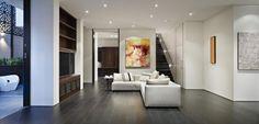 White Tile Flooring Living Room With Elegant Ceiling Lamp