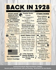 Ideas Birthday Poster Quotes For 2019 90th Birthday, Birthday Ideas, Grandma Birthday, Birthday Crafts, Husband Birthday, Birthday Parties, Popular Books, Time Capsule, History Facts